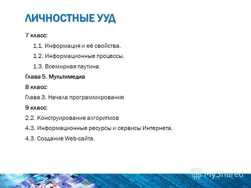 7 класс: 1.1. Информация и её свойства. 1.2. Информационные процессы. 1.3. Всемирная паутина. Глава 5. Мультимедиа 8 класс: Глава 3. Начала программирования 9 класс: 2.2. Конструирование алгоритмов 4.3. Информационные ресурсы и сервисы Интернета. 4.3