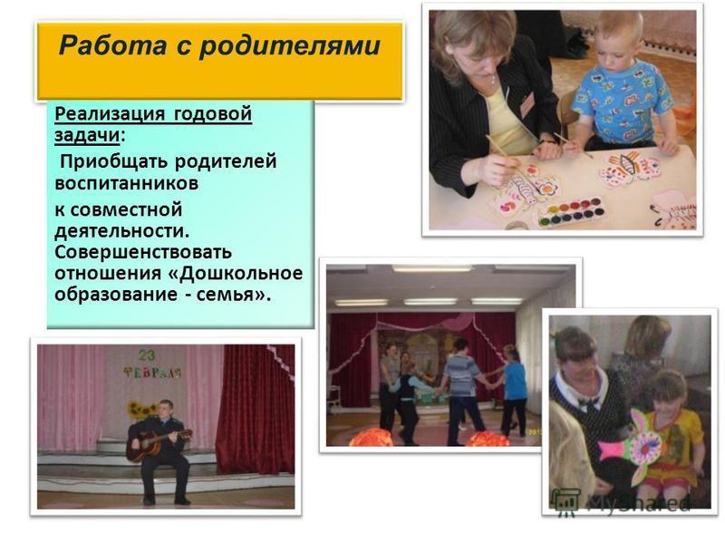 Работа с родителями Реализация годовой задачи: Приобщать родителей воспитанников к совместной деятельности. Совершенствовать отношения «Дошкольное образование - семья».