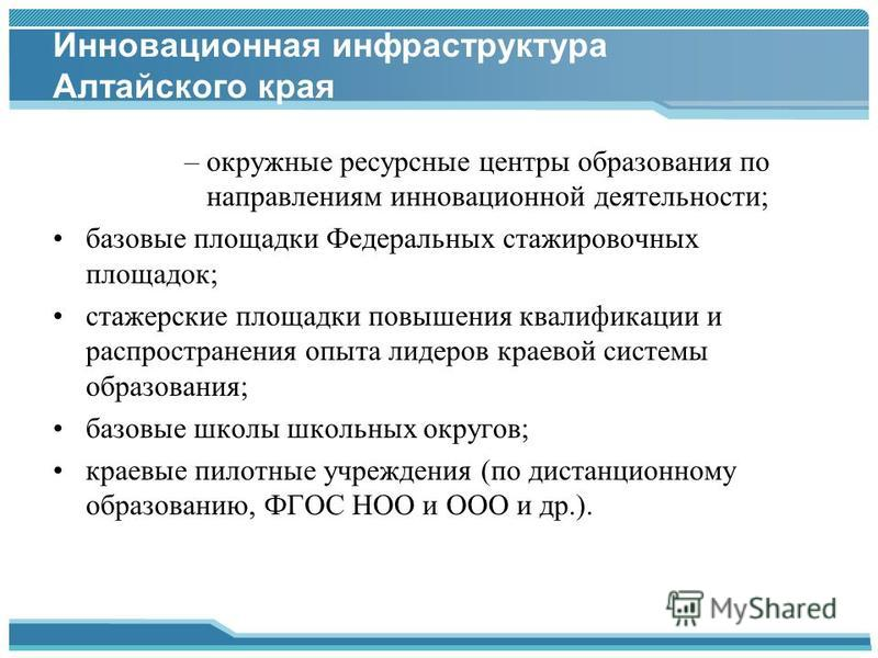 Инновационная инфраструктура Алтайского края –окружные ресурсные центры образования по направлениям инновационной деятельности; базовые площадки Федеральных стажировочных площадок; стажерские площадки повышения квалификации и распространения опыта ли