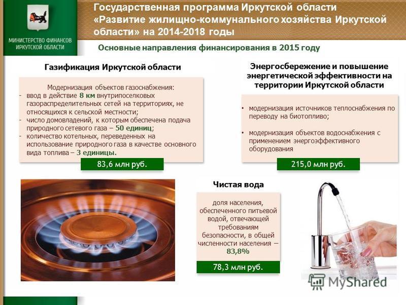 Основные направления финансирования в 2015 году Энергосбережение и повышение энергетической эффективности на территории Иркутской области Чистая вода доля населения, обеспеченного питьевой водой, отвечающей требованиям безопасности, в общей численнос