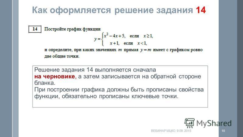 Как оформляется решение задания 14 Решение задания 14 выполняется сначала на черновике, а затем записывается на обратной стороне бланка. При построении графика должны быть прописаны свойства функции, обязательно прописаны ключевые точки. ВЕБИНАР МЦКО