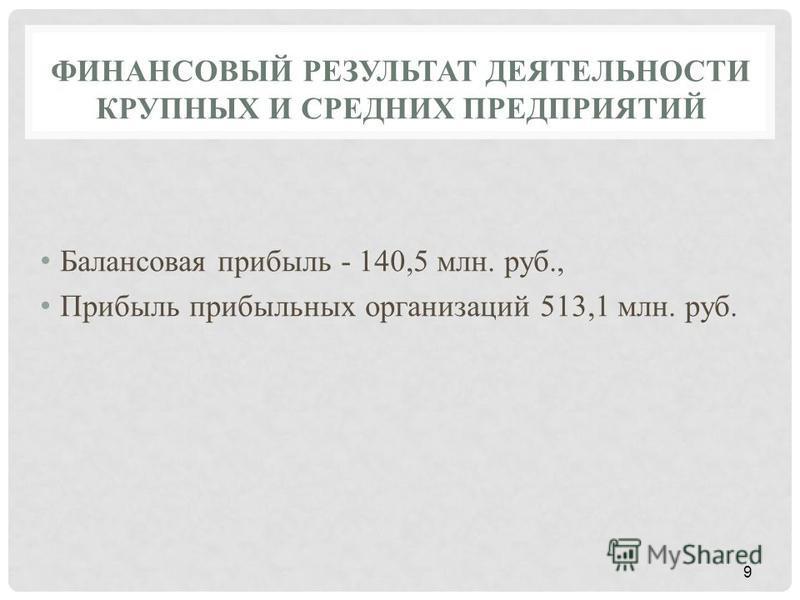 ФИНАНСОВЫЙ РЕЗУЛЬТАТ ДЕЯТЕЛЬНОСТИ КРУПНЫХ И СРЕДНИХ ПРЕДПРИЯТИЙ Балансовая прибыль - 140,5 млн. руб., Прибыль прибыльных организаций 513,1 млн. руб. 9