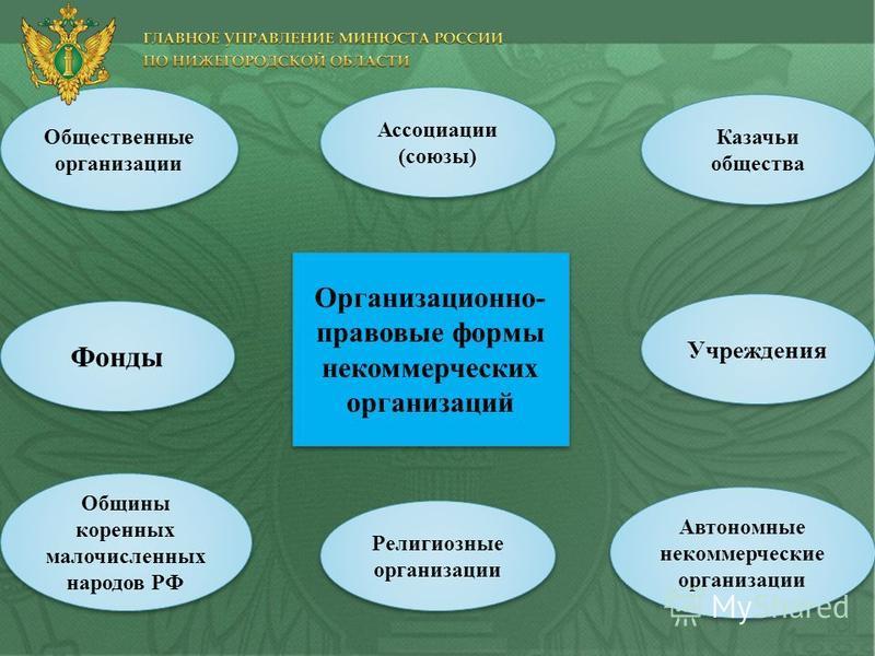 Общественные организации Общины коренных малочисленных народов РФ Фонды Ассоциации (союзы) Учреждения Казачьи общества Автономные некоммерческие организации Религиозные организации Организационно- правовые формы некоммерческих организаций
