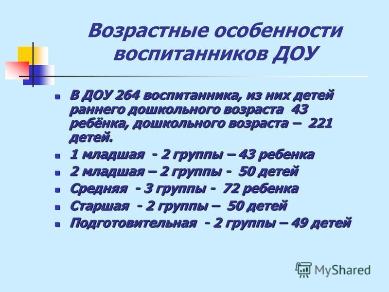 Возрастные особенности воспитанников ДОУ В ДОУ 264 воспитанника, из них детей раннего дошкольного возраста 43 ребёнка, дошкольного возраста – 221 детей. В ДОУ 264 воспитанника, из них детей раннего дошкольного возраста 43 ребёнка, дошкольного возраст