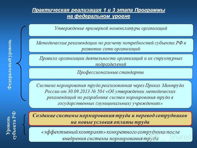 4 Практическая реализация 1 и 3 этапа Программы на федеральном уровне Методические рекомендации по расчету потребностей субъекта РФ в развитии сети организаций Правила организации деятельности организаций и их структурных подразделений «эффективный к