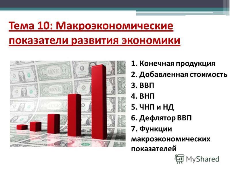 Тема 10: Макроэкономические показатели развития экономики 1. Конечная продукция 2. Добавленная стоимость 3. ВВП 4. ВНП 5. ЧНП и НД 6. Дефлятор ВВП 7. Функции макроэкономических показателей