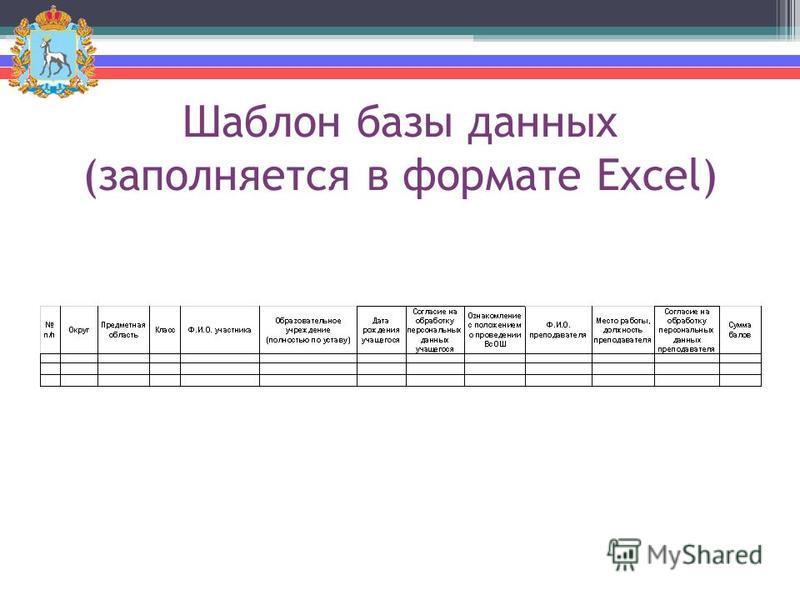 Шаблон базы данных (заполняется в формате Excel)