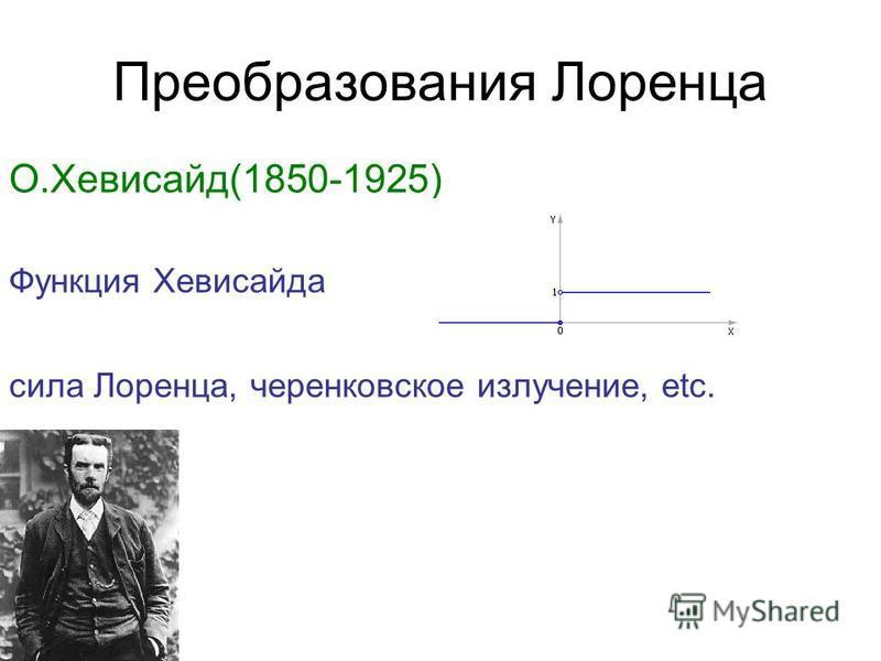 Преобразования Лоренца О.Хевисайд(1850-1925) Функция Хевисайда сила Лоренца, черенковское излучение, etc.