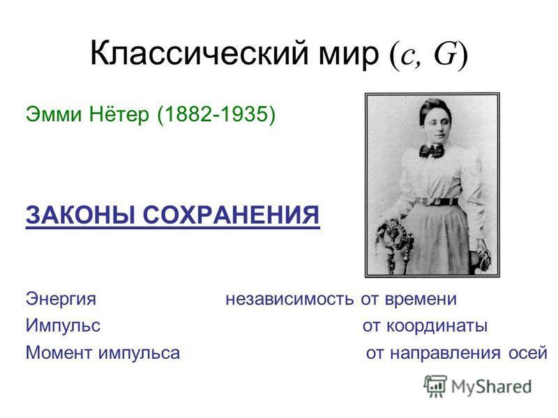 Классический мир (c, G) Эмми Нётер (1882-1935) ЗАКОНЫ СОХРАНЕНИЯ Энергия независимость от времени Импульс от координаты Момент импульса от направления осей