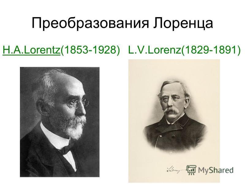 Преобразования Лоренца H.A.Lorentz(1853-1928) L.V.Lorenz(1829-1891)