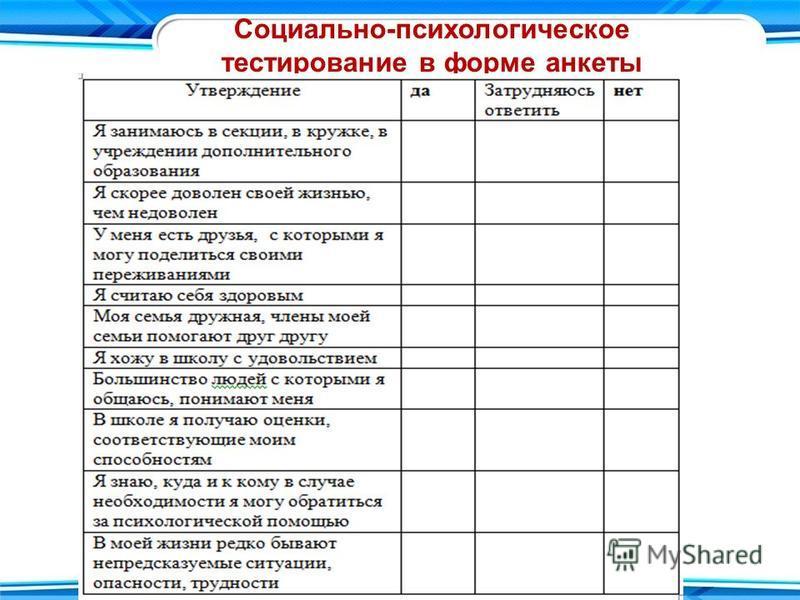 Социально-психологическое тестирование в форме анкеты