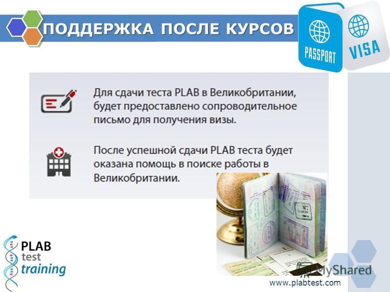 ПОДДЕРЖКА ПОСЛЕ КУРСОВ www.plabtest.com