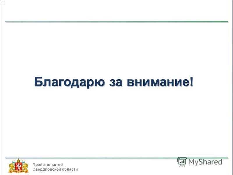 Правительство Свердловской области Благодарю за внимание!