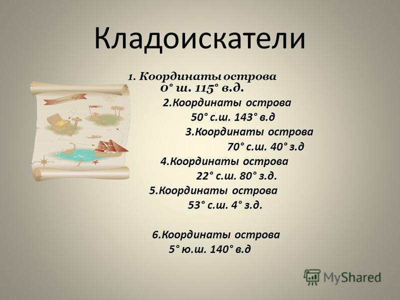 1. Координаты острова 0° ш. 115° в.д. 2. Координаты острова 50° с.ш. 143° в.д 3. Координаты острова 70° с.ш. 40° з.д 4. Координаты острова 22° с.ш. 80° з.д. 5. Координаты острова 53° с.ш. 4° з.д. 6. Координаты острова 5° ю.ш. 140° в.д Кладоискатели
