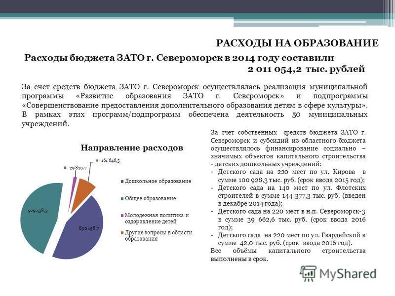 Расходы бюджета ЗАТО г. Североморск в 2014 году составили 2 011 054,2 тыс. рублей. За счет средств бюджета ЗАТО г. Североморск осуществлялась реализация муниципальной программы «Развитие образования ЗАТО г. Североморск» и подпрограммы «Совершенствова