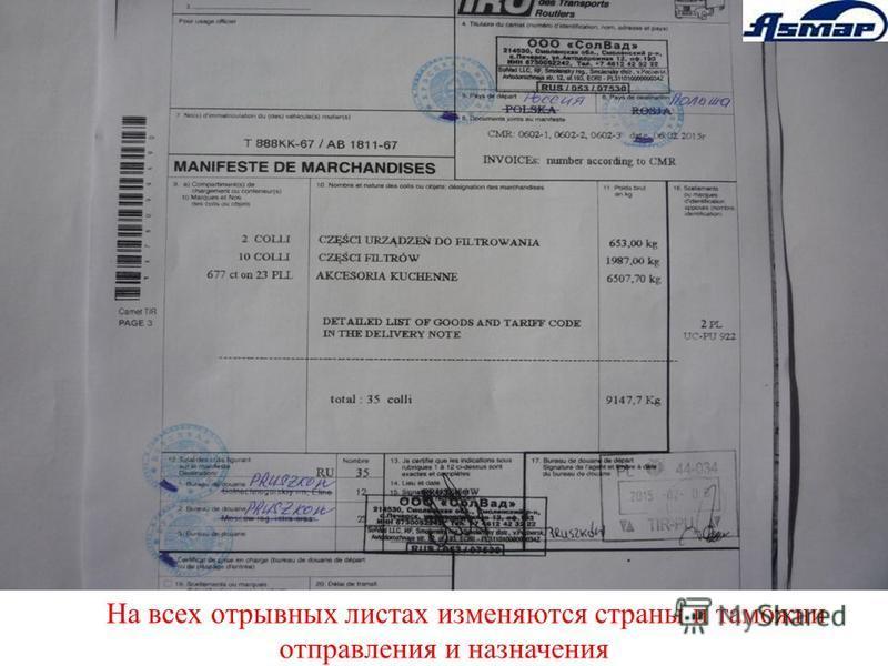 На всех отрывных листах изменяются страны и таможни отправления и назначения