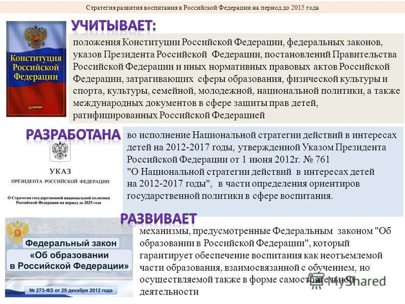 Стратегия развития воспитания в Российской Федерации на период до 2015 года во исполнение Национальной стратегии действий в интересах детей на 2012-2017 годы, утвержденной Указом Президента Российской Федерации от 1 июня 2012 г. 761