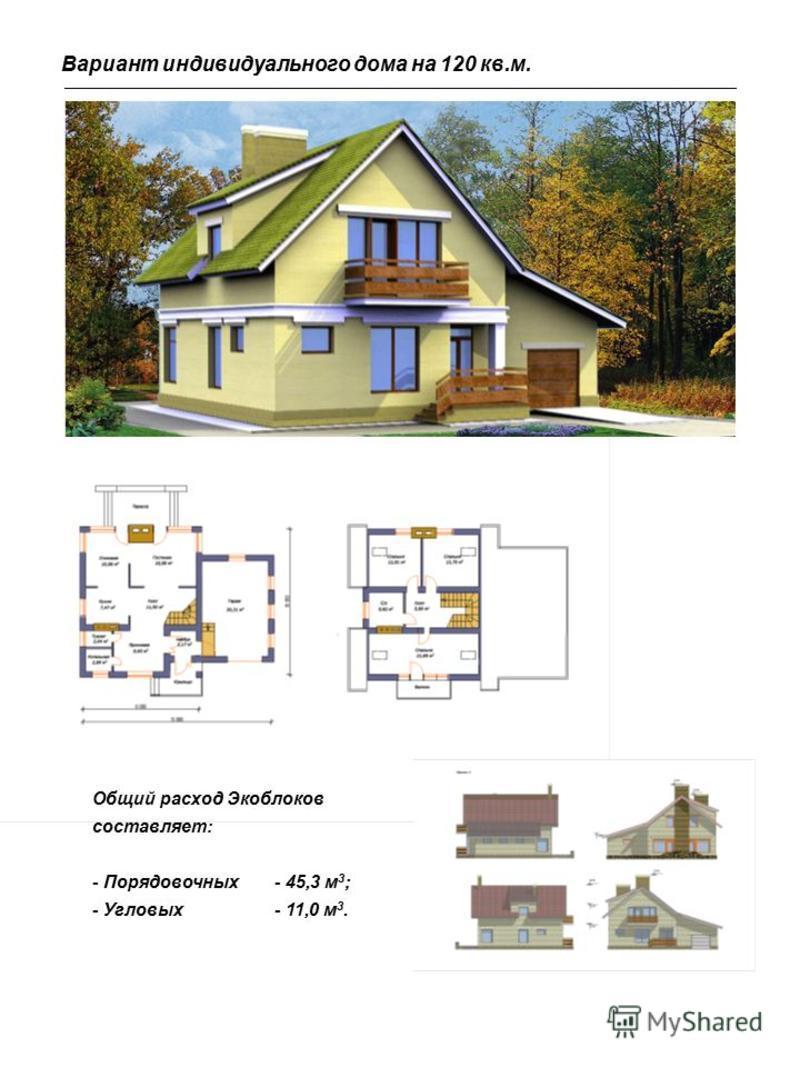 Общий расход Экоблоков составляет: - Порядовочных- 45,3 м 3 ; - Угловых- 11,0 м 3. Вариант индивидуального дома на 120 кв.м.