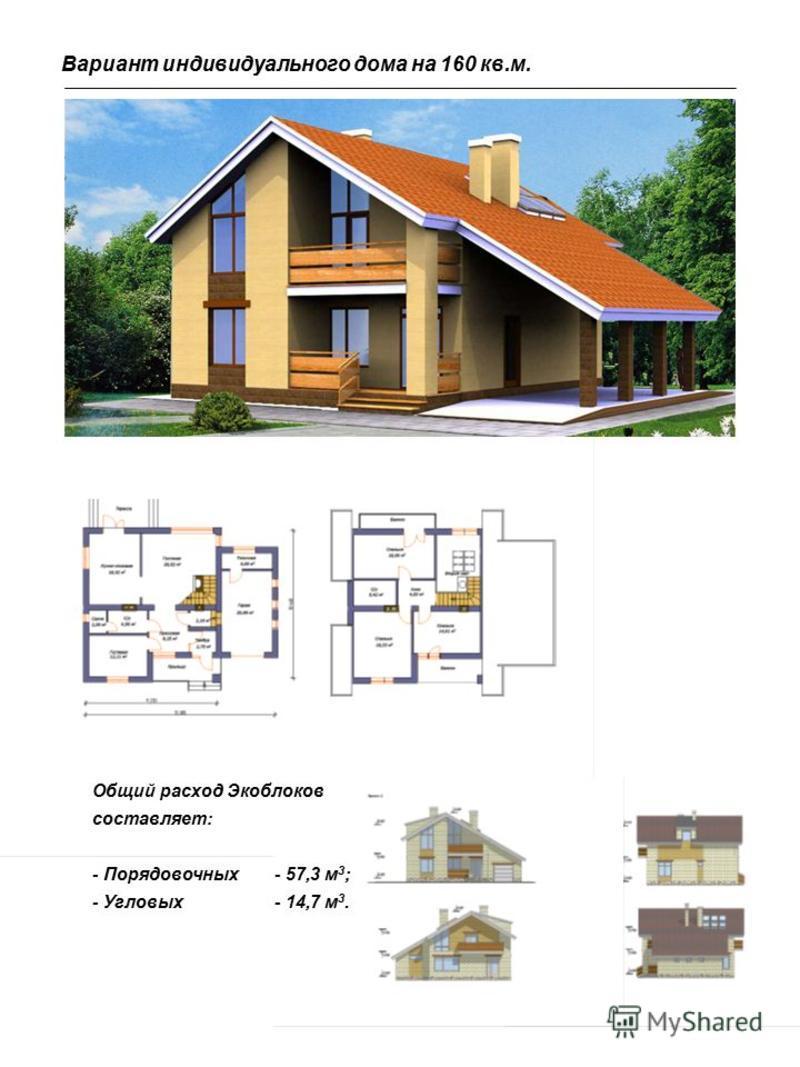 Вариант индивидуального дома на 160 кв.м. Общий расход Экоблоков составляет: - Порядовочных- 57,3 м 3 ; - Угловых- 14,7 м 3.
