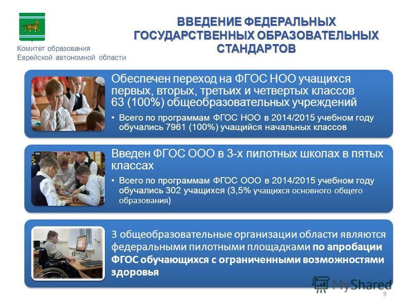 ВВЕДЕНИЕ ФЕДЕРАЛЬНЫХ ГОСУДАРСТВЕННЫХ ОБРАЗОВАТЕЛЬНЫХ СТАНДАРТОВ Комитет образования Еврейской автономной области Обеспечен переход на ФГОС НОО учащихся первых, вторых, третьих и четвертых классов 63 (100%) общеобразовательных учреждений Всего по прог