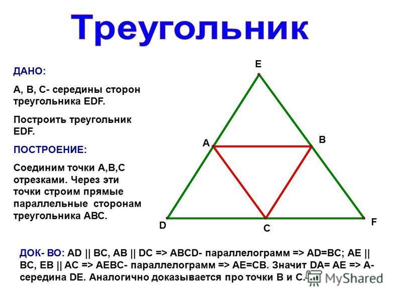А В С D E F ДАНО: А, В, С- середины сторон треугольника EDF. Построить треугольник EDF. ПОСТРОЕНИЕ: Соединим точки А,В,С отрезками. Через эти точки строим прямые параллельные сторонам треугольника АВС. ДОК- ВО: AD || BC, AB || DC => ABCD- параллелогр