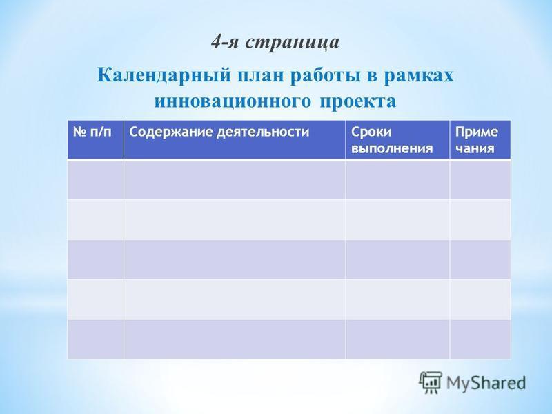 4-я страница Календарный план работы в рамках инновационного проекта п/п Содержание деятельности Сроки выполнения Приме чания