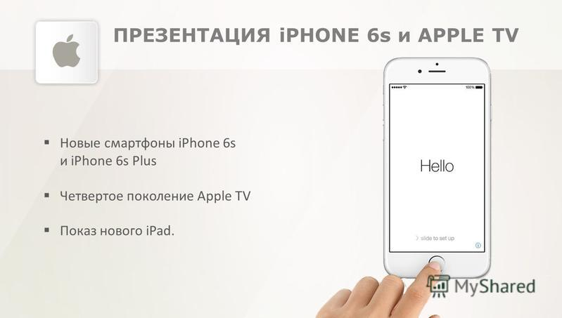 ПРЕЗЕНТАЦИЯ iPHONE 6s и APPLE TV Новые смартфоны iPhone 6s и iPhone 6s Plus Четвертое поколение Apple TV Показ нового iPad.