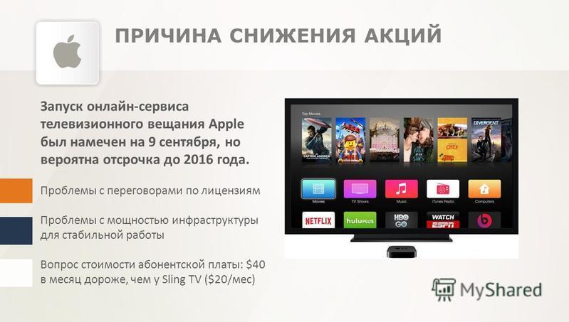 Запуск онлайн-сервиса телевизионного вещания Apple был намечен на 9 сентября, но вероятна отсрочка до 2016 года. Проблемы с переговорами по лицензиям Проблемы с мощностью инфраструктуры для стабильной работы Вопрос стоимости абонентской платы: $40 в