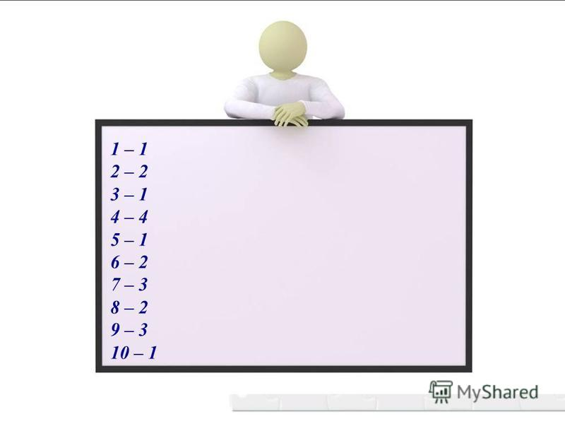 1 – 1 2 – 2 3 – 1 4 – 4 5 – 1 6 – 2 7 – 3 8 – 2 9 – 3 10 – 1