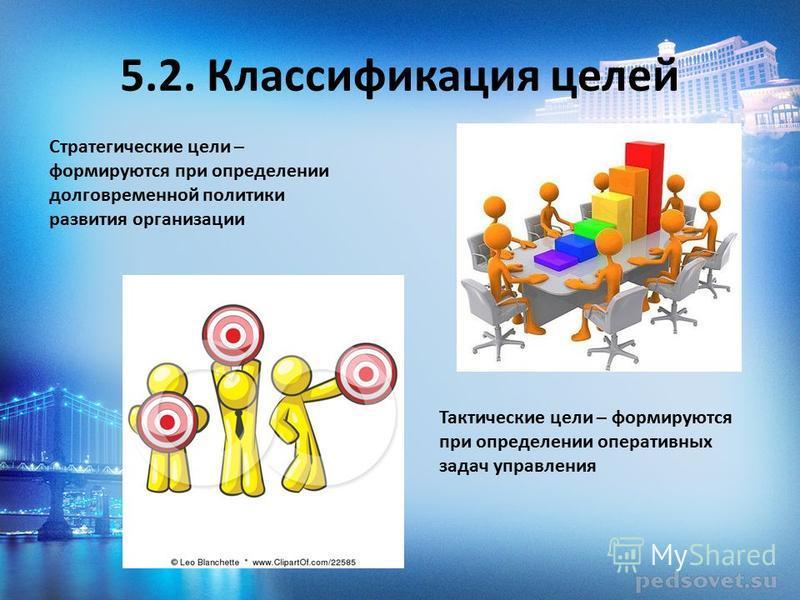 5.2. Классификация целей Стратегические цели – формируются при определении долговременной политики развития организации Тактические цели – формируются при определении оперативных задач управления