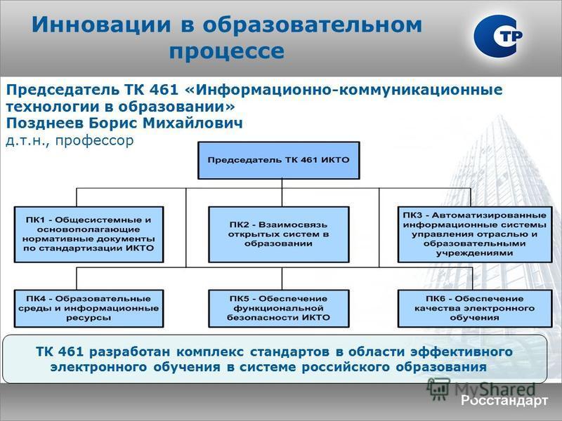 Инновации в образовательном процессе ТК 461 разработан комплекс стандартов в области эффективного электронного обучения в системе российского образования Председатель ТК 461 «Информационно-коммуникационные технологии в образовании» Позднеев Борис Мих