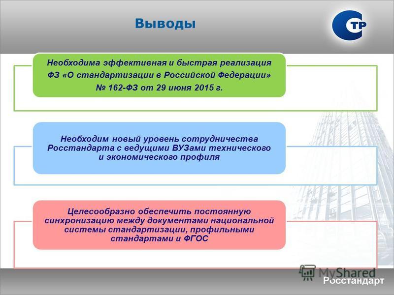 Выводы Необходима эффективная и быстрая реализация ФЗ «О стандартизации в Российской Федерации» 162-ФЗ от 29 июня 2015 г. Необходим новый уровень сотрудничества Росстандарта с ведущими ВУЗами технического и экономического профиля Целесообразно обеспе