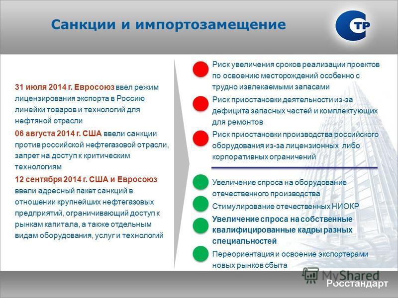 Санкции и импортозамещение 31 июля 2014 г. Евросоюз ввел режим лицензирования экспорта в Россию линейки товаров и технологий для нефтяной отрасли 06 августа 2014 г. США ввели санкции против российской нефтегазовой отрасли, запрет на доступ к критичес