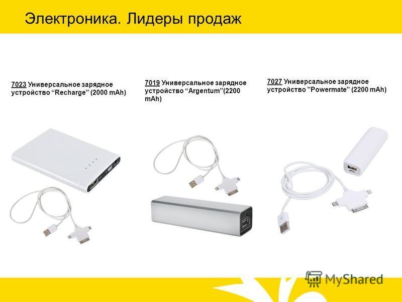 Электроника. Лидеры продаж 7027 Универсальное зарядное устройство Powermate (2200 mAh) 7023 Универсальное зарядное устройство Recharge (2000 mAh) 7019 Универсальное зарядное устройство Argentum(2200 mAh)