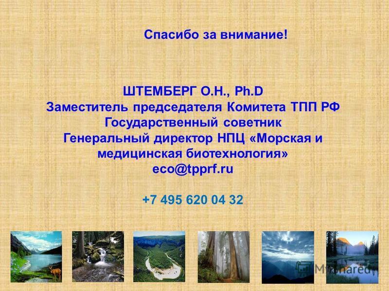 Спасибо за внимание! ШТЕМБЕРГ О.Н., Ph.D Заместитель председателя Комитета ТПП РФ Государственный советник Генеральный директор НПЦ «Морская и медицинская биотехнология» eco@tpprf.ru +7 495 620 04 32