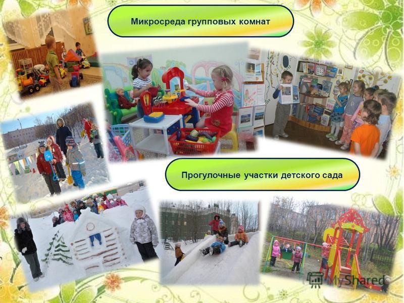Прогулочные участки детского сада Микросреда групповых комнат