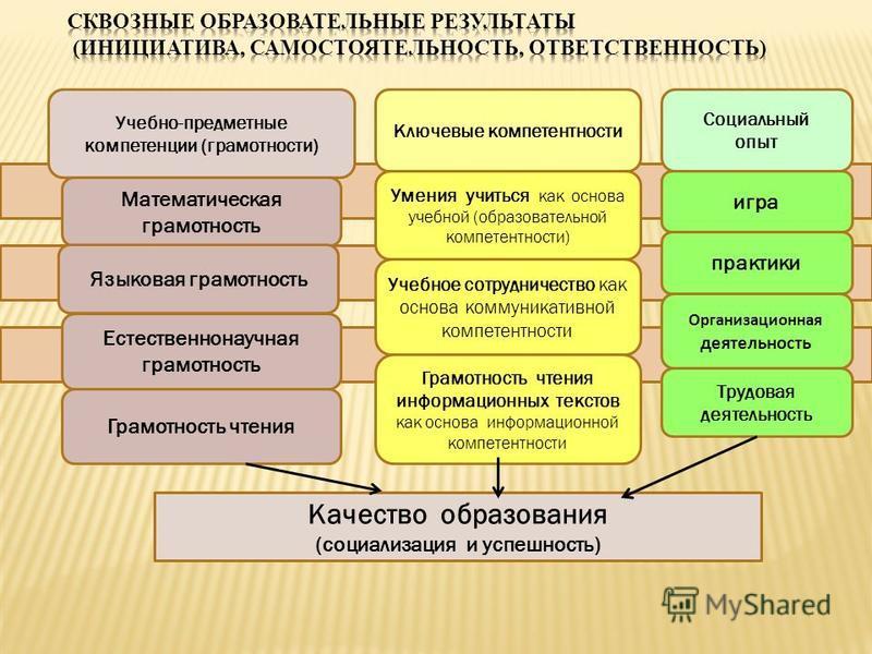 Учебно-предметные компетенции (грамотности) Математическая грамотность Языковая грамотность Естественнонаучная грамотность Грамотность чтения Ключевые компетентности Умения учиться как основа учебной (образовательной компетентности) Учебное сотруднич