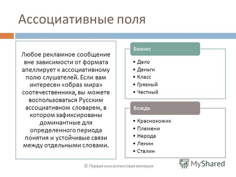 Ассоциативные поля Любое рекламное сообщение вне зависимости от формата апеллирует к ассоциативному полю слушателей. Если вам интересен « образ мира » соотечественника, вы можете воспользоваться Русским ассоциативном словарем, в котором зафиксированы