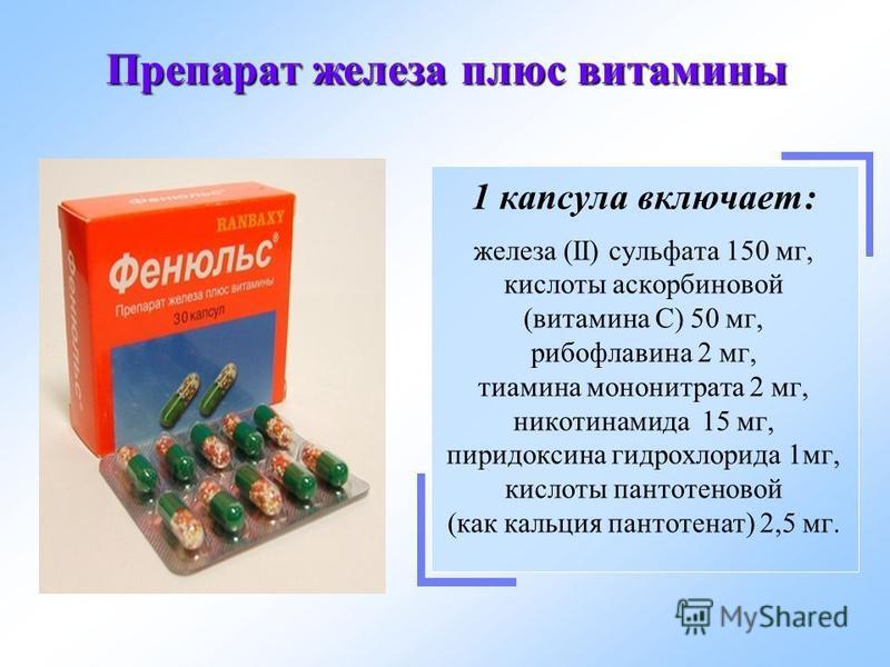 Препарат железа плюс витамины 1 капсула включает: железа (II) сульфата 150 мг, кислоты аскорбиновой (витамина С) 50 мг, рибофлавина 2 мг, тиамина мононитрата 2 мг, никотинамида 15 мг, пиридоксина гидрохлорида 1 мг, кислоты пантотеновой (как кальция п