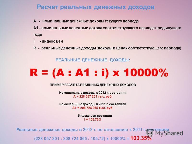 Расчет реальных денежных доходов РЕАЛЬНЫЕ ДЕНЕЖНЫЕ ДОХОДЫ: R = (A : A1 : i) x 10000% ПРИМЕР РАСЧЕТА РЕАЛЬНЫХ ДЕНЕЖНЫХ ДОХОДОВ Номинальные доходы в 2012 г. составили А = 228 057 201 тыс. руб. номинальные доходы в 2011 г. составили А1 = 208 724 065 тыс