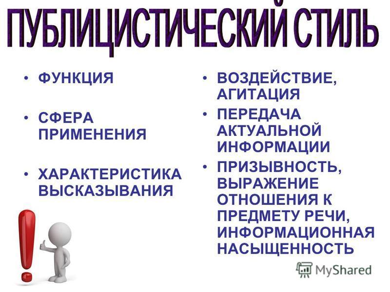 ФУНКЦИЯ СФЕРА ПРИМЕНЕНИЯ ХАРАКТЕРИСТИКА ВЫСКАЗЫВАНИЯ ВОЗДЕЙСТВИЕ, АГИТАЦИЯ ПЕРЕДАЧА АКТУАЛЬНОЙ ИНФОРМАЦИИ ПРИЗЫВНОСТЬ, ВЫРАЖЕНИЕ ОТНОШЕНИЯ К ПРЕДМЕТУ РЕЧИ, ИНФОРМАЦИОННАЯ НАСЫЩЕННОСТЬ