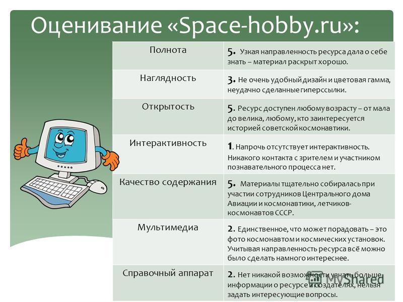 Оценивание «Space-hobby.ru»: Полнота 5. Узкая направленность ресурса дала о себе знать – материал раскрыт хорошо. Наглядность 3. Не очень удобный дизайн и цветовая гамма, неудачно сделанные гиперссылки. Открытость 5. Ресурс доступен любому возрасту –