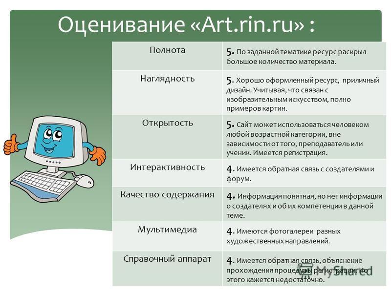 Оценивание «Art.rin.ru» : Полнота 5. По заданной тематике ресурс раскрыл большое количество материала. Наглядность 5. Хорошо оформленный ресурс, приличный дизайн. Учитывая, что связан с изобразительным искусством, полно примеров картин. Открытость 5.