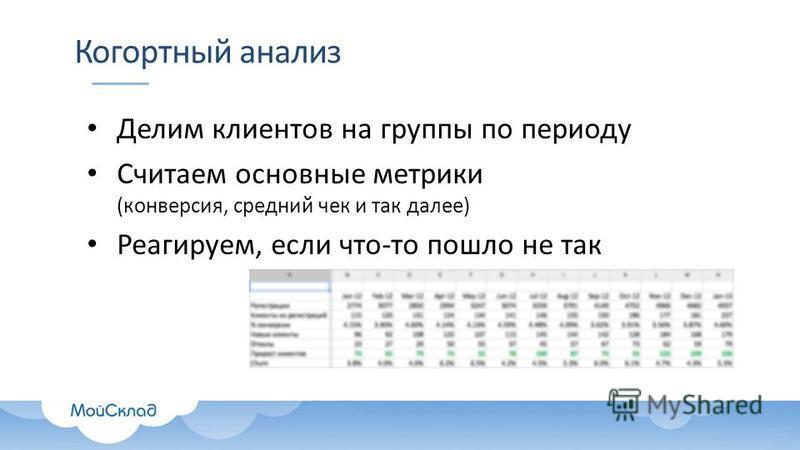 Когортный анализ Делим клиентов на группы по периоду Считаем основные метрики (конверсия, средний чек и так далее) Реагируем, если что-то пошло не так