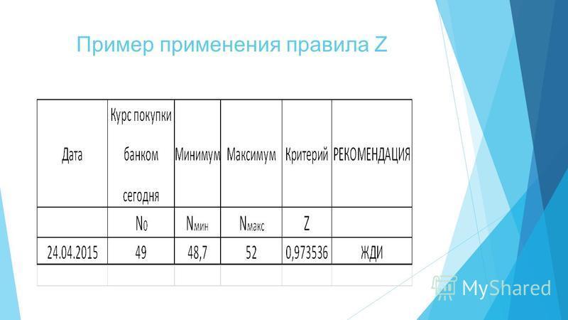Пример применения правила Z