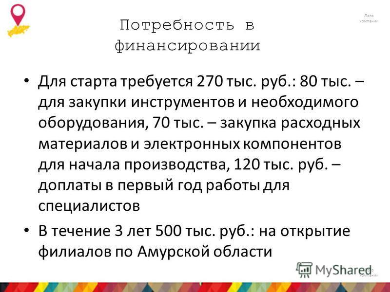 Лого компании Потребность в финансировании Для старта требуется 270 тыс. руб.: 80 тыс. – для закупки инструментов и необходимого оборудования, 70 тыс. – закупка расходных материалов и электронных компонентов для начала производства, 120 тыс. руб. – д
