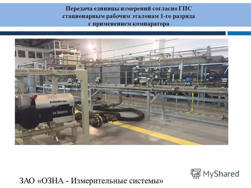 Передача единицы измерений согласно ГПС стационарным рабочим эталонам 1-го разряда с применением компаратора ЗАО «ОЗНА - Измерительные системы»