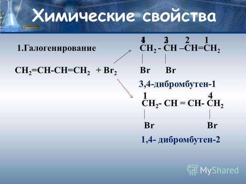 Химические свойства 1. Галогенирование СН 2 - СН –СН=СН 2 СН 2 =СН-СН=СН 2 + Br 2 Br Br CH 2 - CH = CH- CH 2 Br Br 3,4-дибромбутен-1 1,4- дибромбутен-2 4 1 1 21234