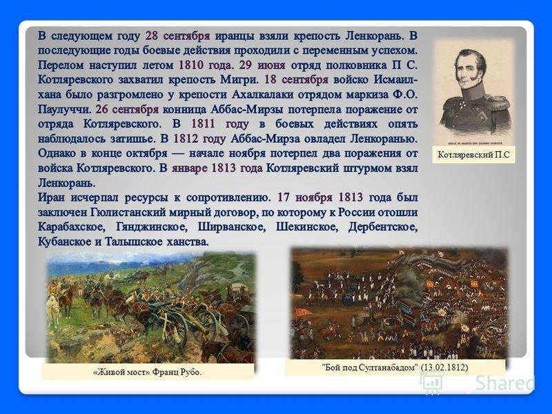 Котляревский П.С Бой под Султанабадом (13.02.1812) «Живой мост» Франц Рубо.