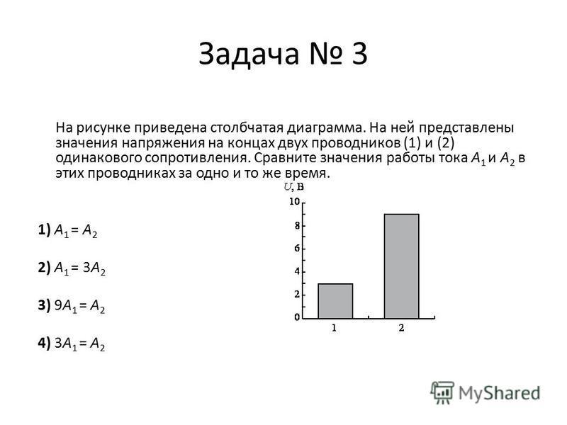 Задача 2 По графику определите в каком случае сопротивление проводника больше: 1. В первом случае 2. Во втором случае 3. Сопротивление одинаково